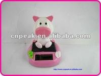 Auto Car Dashboard Swing Solar Decor Toy Doll Pig Pink/solar powered toys
