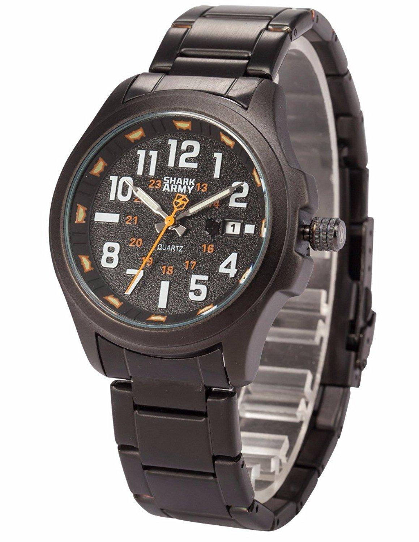 Mix&Rock SHARK ARMY Date Military Time Display Orange Luminous Hands Sport Quartz Watch