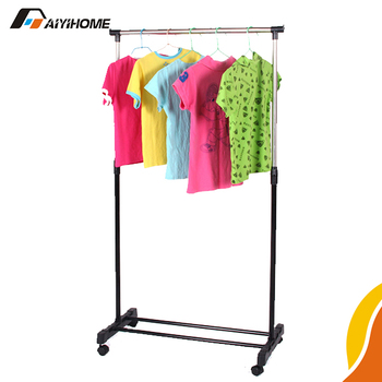 Black Coated Portable Single Pole Clothes Hanging Rack For Bedroom