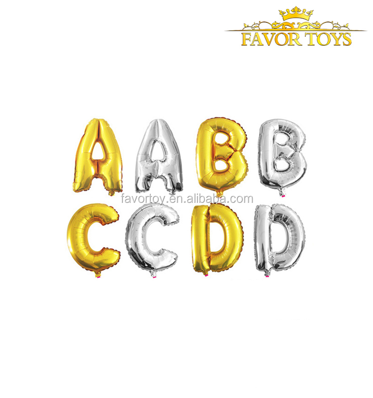 Party decoration favor toys inflatable custom gold silver number foil balloon