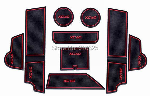 Car Red Gate Slot Pad Cup Mat Armrest Storage Pad Anti-Slip Mat For VOLVO XC60 Retail/Set Free Shipping