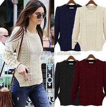 afe0361d39f7b Moda europea mujeres suéter de lana nuevos diseños para las señoras suéter  blanco ...