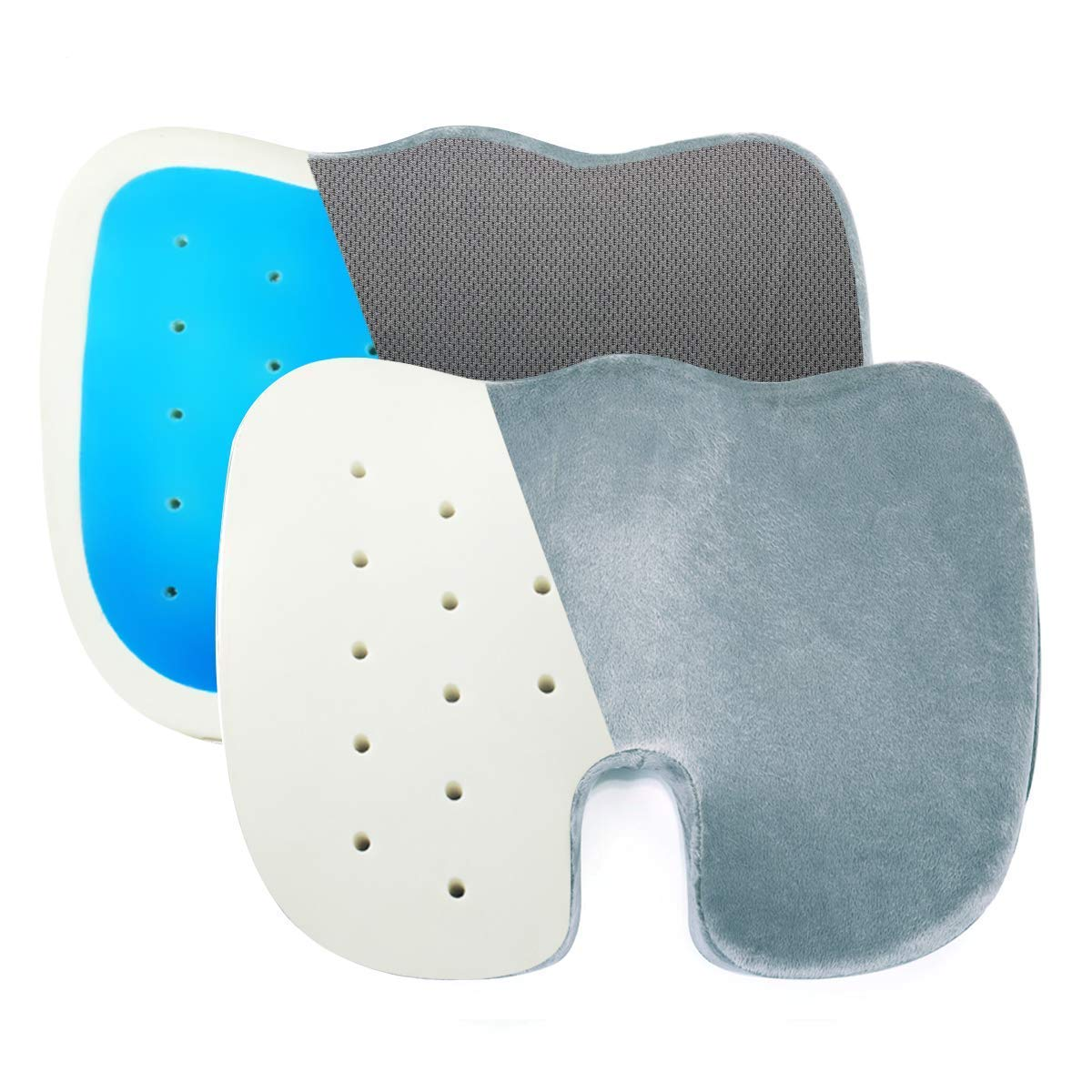 OKELA Coccyx Orthopedic Memory Foam Seat Cushion, Comfort Memory Foam Chair Cushion with Venting Holes & Gel Enhanced for Summer(on The Back), Tailbone Pillow for Sciatica, Back, and Tailbone Pain