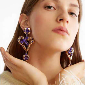 Barlaycs 2019 New Fashion Statement Vintage Crystal Heart Gold Plated Drop Dangle Earrings for Women Jewelry