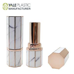 new product octagon custom empty lipstick tube marble cosmetics packaging