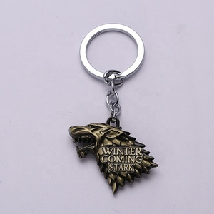Stark Family crests Logo Keychain Metal Wolf Head Targaryen Dragon Pendant Game of Thrones Keychain