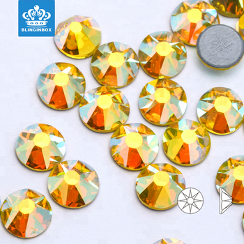 Newest Design 16 face cut 8 big 8 small facets high quality hotfix flat back rhinestones citrine AB color strass