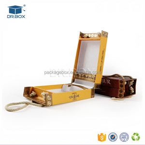 China manufacturer paper cardboard luxury rigid custom timed cigars packaging gift box with rope handle