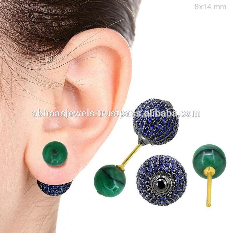 Populaire Boucles d'oreilles saphir bleu, 14k or, bijoux de pierre gemme  CQ19
