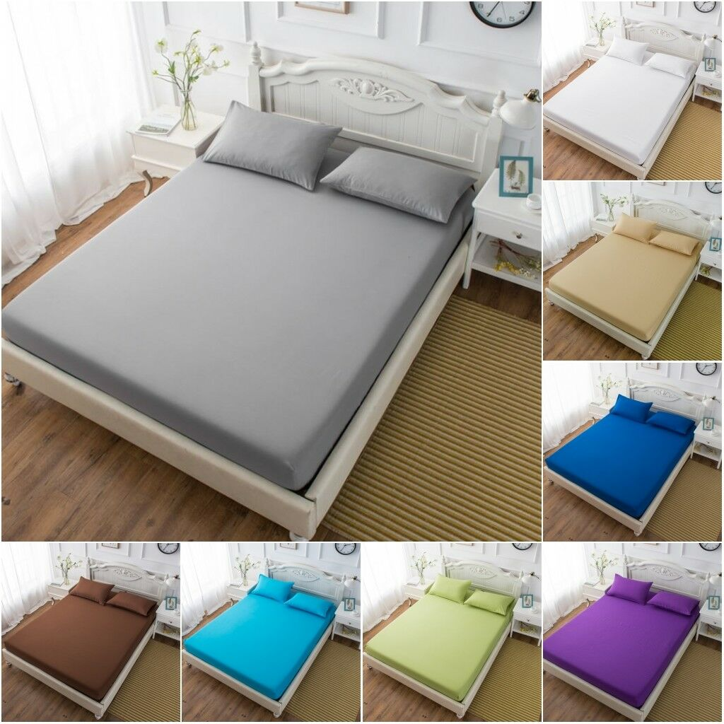 Picture of: Bed Fitted Sheet Elastic Sheets Single Twin Full Queen King Bedding Cover Bed Sheet 3 Size Bedding Sets Aliexpress