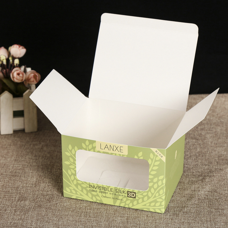 OEM design small foldable green printing face mask art paper box with window