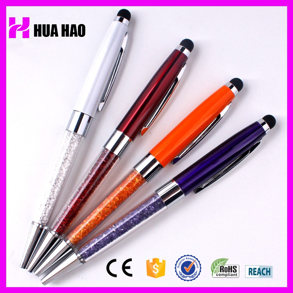 European style promotional crystal touch pen with logo customized crystal stylus pen