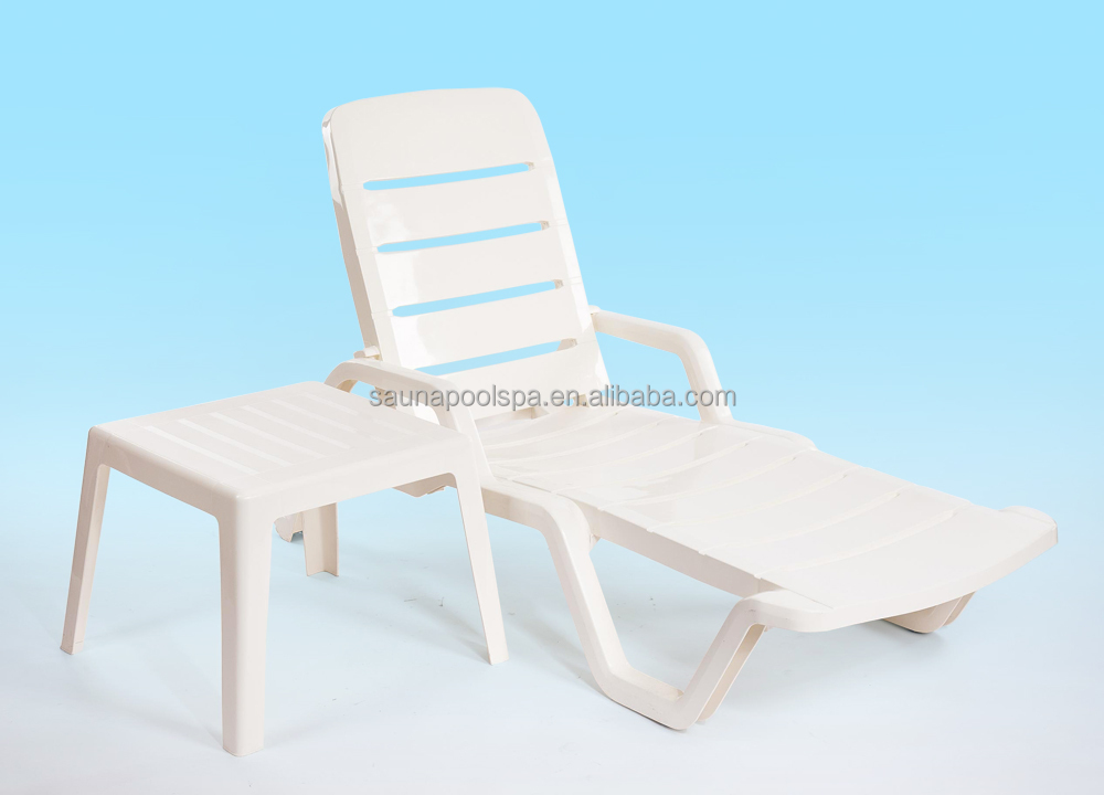 Outdoor plastic <strong>sun</strong> lounge white chair beach chair