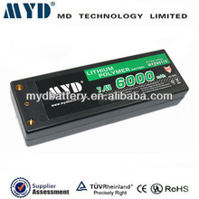 Specialized in high discharge rate li-polymer battery 60C RC battery 6000mah 7.4v