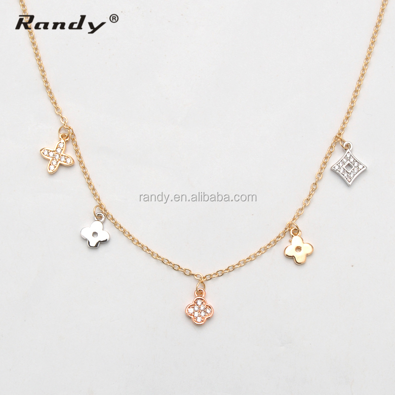 Latest Design Saudi Gold Chain Jewelry With Flower Pendant Necklace