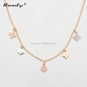 Latest Design Saudi Gold Chain Jewelry With Flower Pendant