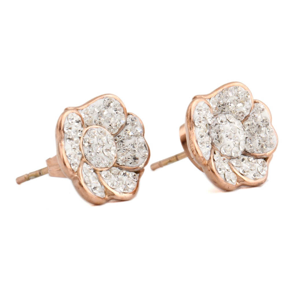 New 2016 latest gold earring designs rose gold lotus earring studs on wedding band