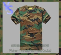 [Wuhan YinSong] 100% Cotton Collarless O-neck Short Sleeves Military Men Woodland Camouflage Custom T Shirt