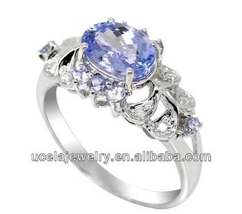 14k White Gold Tanzanite And Diamond Ring Mens Saudi White Gold ...
