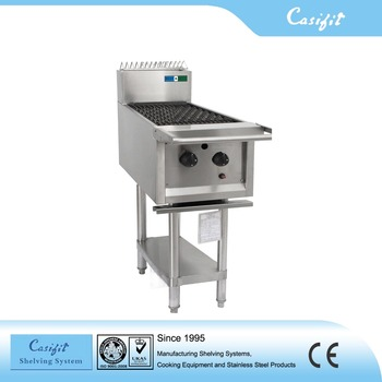 Kitchen Bbq Equipment 2 Burners Commercial Barbecue Stainless Steel Gas Grill With Under Shelf