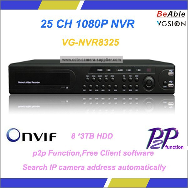 H.264 Digital Video Recorder System Realtime Playback 25CH 1080P NVR