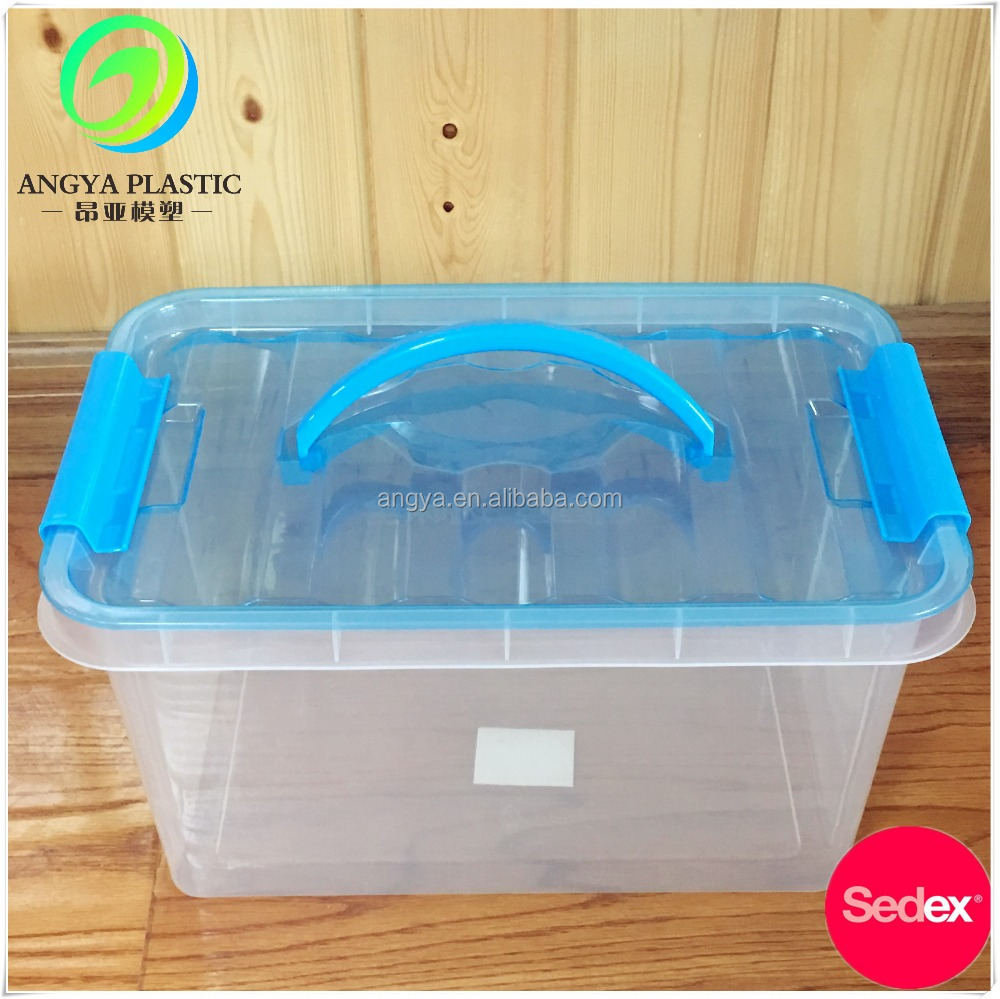 100% High-Quality 13L Transparent plastic boxes storage With Handle