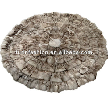 Round Fox Fur Rugs For Home Decorative