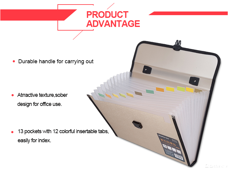 13 pockets elastic expandable box file folder with business cards holder