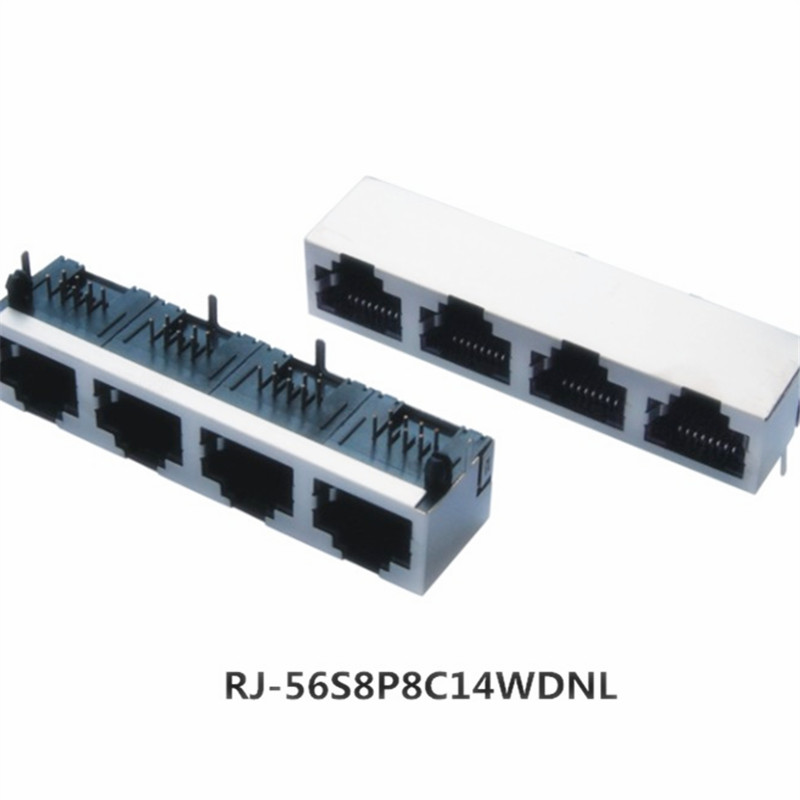 Manufacturer produce 1X4 ports female dip ethernet rj45 connector