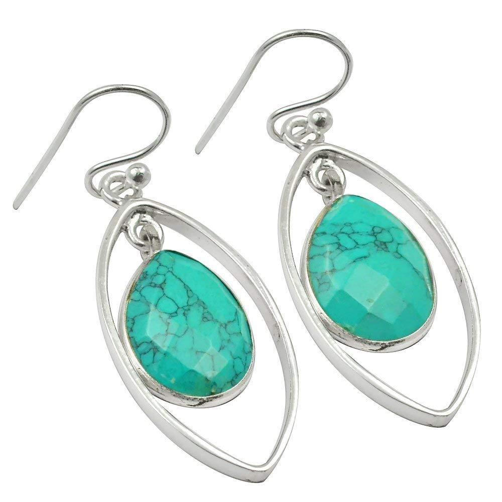 11.5 Carat Solid 925 Sterling Silver Natural Welo Fire Turquoise Earring 10x14mm 0.62x1.65inch SN-E-1612