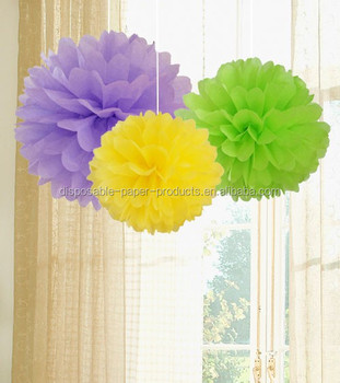 Paper Crafts Pom Poms Kids Birthday Party Decor POM Set Of Lavender Pale Green