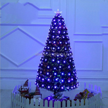 7ft black led light fiber optic artificial decoration christmas tree