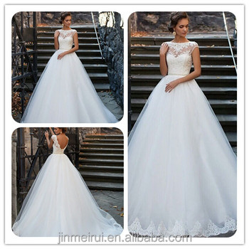 New Wedding Dresses Full Lace Bateau Neck A-line Half Sleeves Button ...