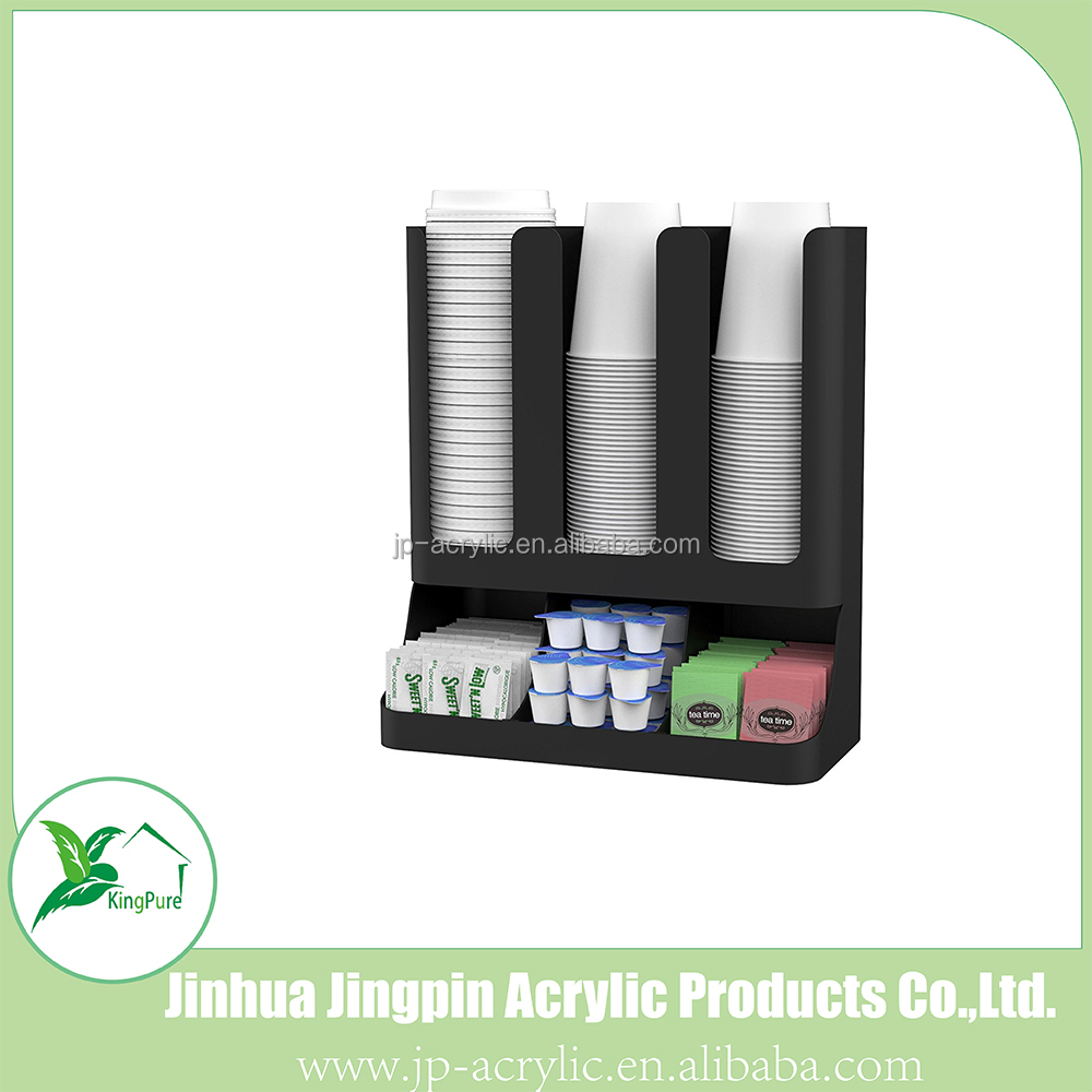 Acrylic Flume' 6 Compartment Upright Coffee Condiment and Cups Organizer