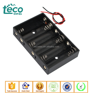 TBH-2A-6C-W Ningbo TECO Wired 9V Battery Box Holder Black for 6 x 1.5V AA Batteries