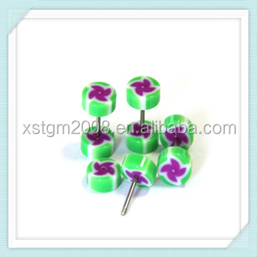 New arrival ! green upper Ear Studs Jewelry Piercing with purple windmill