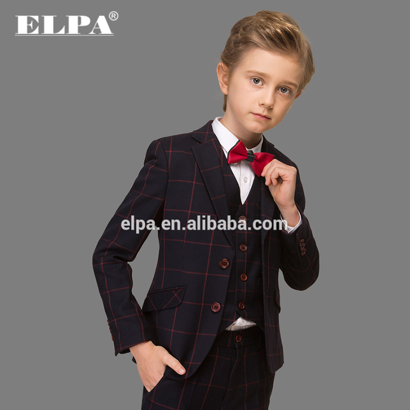 Slim fit check kids sweat suits for boys