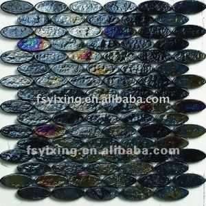 oval glass 3D oval shaped black mosaic tile