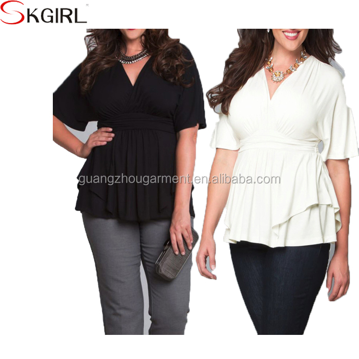 Plus Size V Neck Casual Work Office