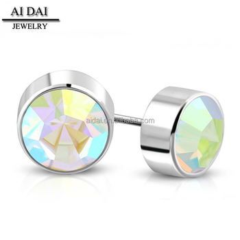 0bfccef7b99f8 Not Allergic Ab Color Crystal Stud Earrings Low-cost Custom Stainless Steel  Earrings - Buy Not Allergic Ab Color Crystal Stud Earrings,Stainless Steel  ...