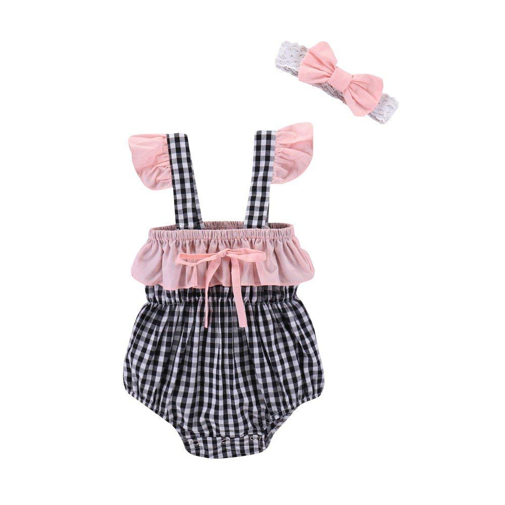 aa8f3551cb9f45 Fineser Baby Girls Romper Infant Plaid Jumpsuit Summer Outfits with Headband