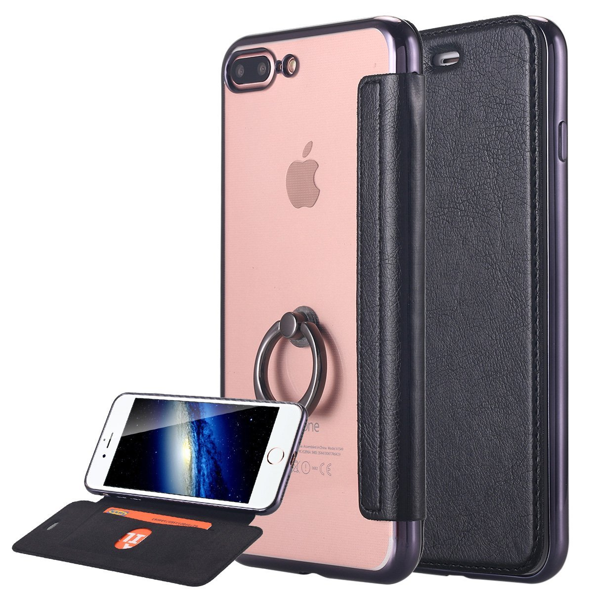 iPhone 7 Plus Case, LONTECT Ultra Slim PU Leather Folio Flip Case Card Slot with Clear Soft TPU Back Cover Built-in Ring Grip Holder for Apple iPhone 7 Plus - Black