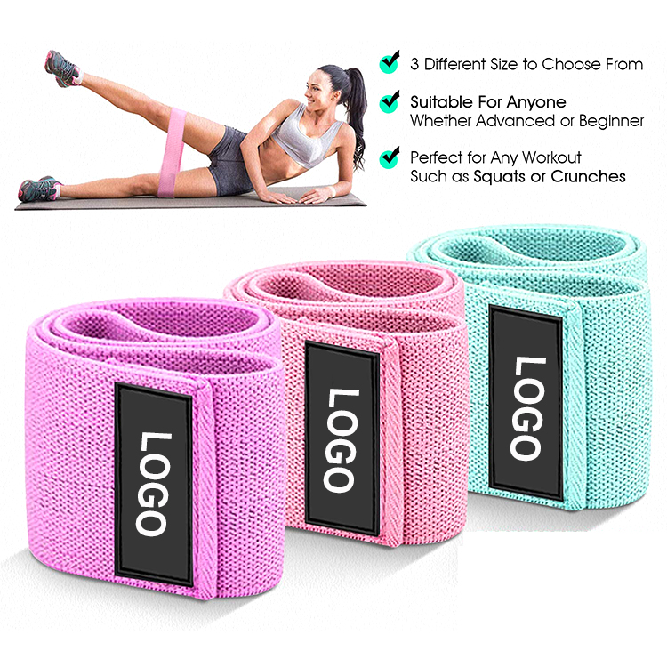 Custom Logo Yoga Gym Exercise Hip Fabric Resistance Bands