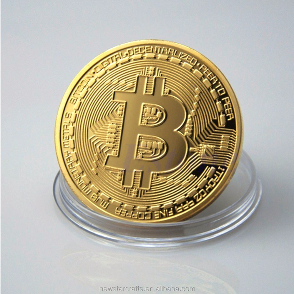 Wholesales Double Side Gold Bit Coin Replica,Custom Metal Bitcoin Commemorative Coin