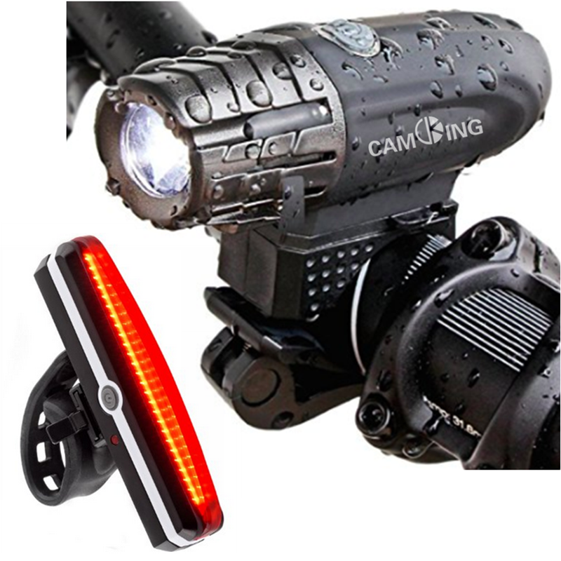 USB Rechargeable Bicycle Light Set,Ultra Bright 300Lumens LED Bike Front Light Back Tail Light Combo