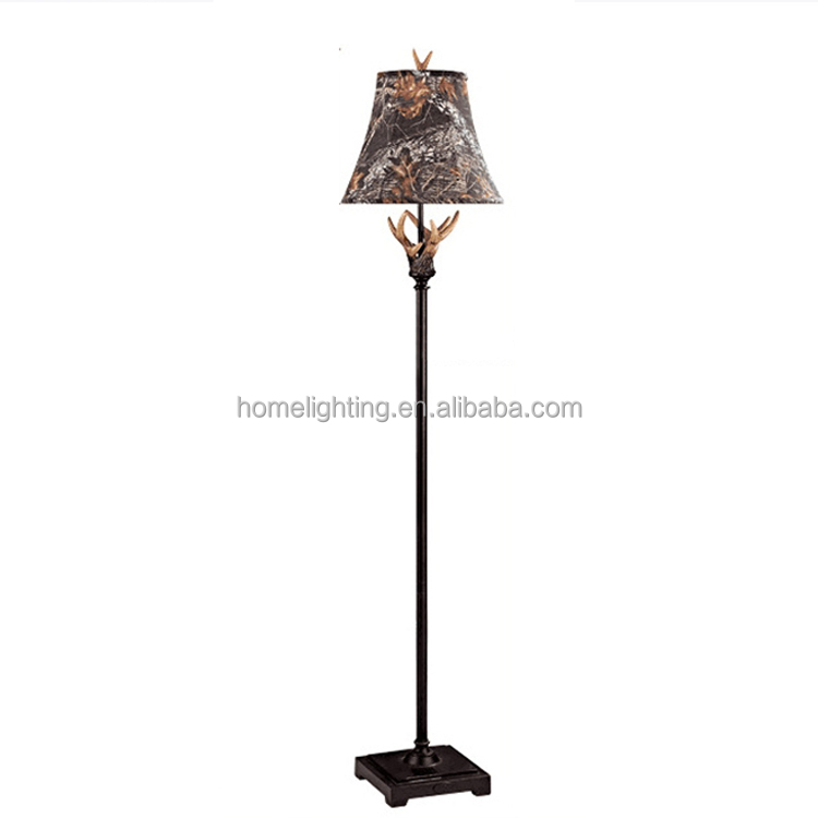 JLF-1625 handcrafted art deer antler bedroom decorative fancy led light rustic style floor standing resin lamp 1 light