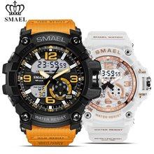 SMAEL 2 шт./компл., водонепроницаемые спортивные часы для мужчин, армейские часы с двойным дисплеем, наручные часы для женщин, цифровые часы для ...(China)