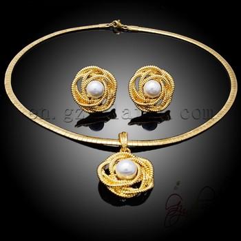 2ee554583 Atacado flor Duas Peças Conjuntos de Jóias de Noiva Colar De Casamento E Brincos  Set ouro