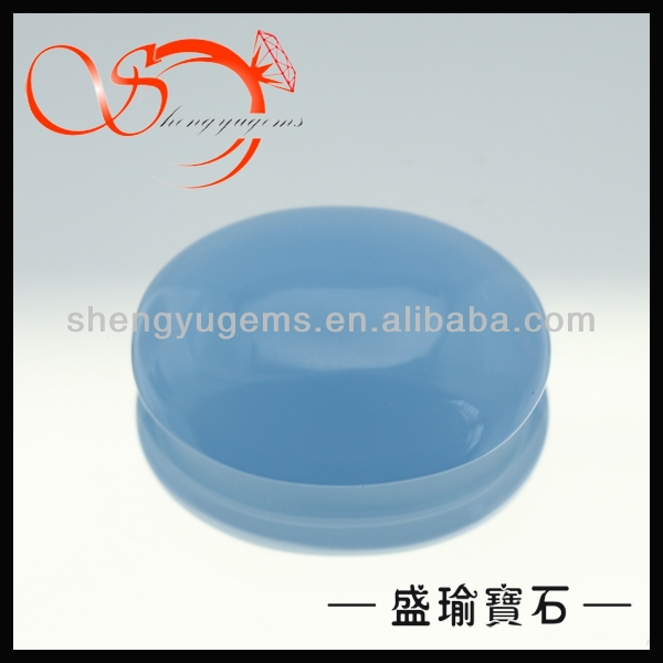 wuzhou blue oval glass cabochons stones(GLOV0002-15X20mm)
