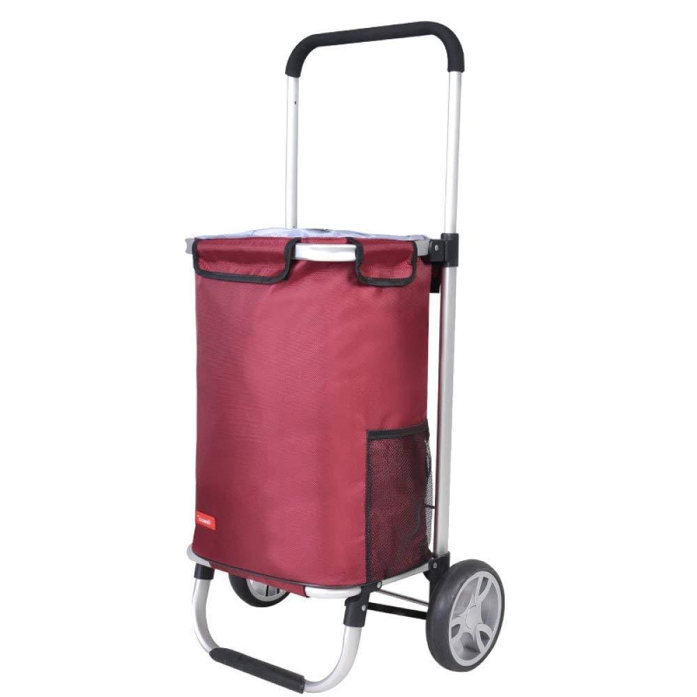 Size : Thick Home Shopping Cart L30 W38 H95cm 6-wheel Collapsible Shopping Cart Light Shopping Trolley Portable Push-pull Cart 35L Capacity,1pcs